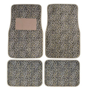 New 4pcs Set Safari Cheetah Beige Tan Front Rear Car Truck Carpet Floor Mats