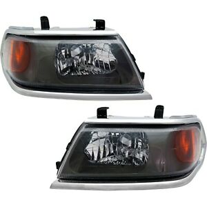 Headlight Set For 2000 2004 Mitsubishi Montero Sport With Chrome Trim 2pc