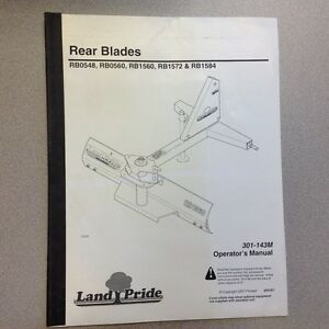 Land Pride Rear Blades Rbo548 Rb0560 Rb1560 Rb1572 Rb1584 Operators Manual