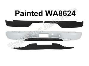 Painted White Rear Bumper With Hitch Pad For 1999 2007 Silverado Fleetside 1500