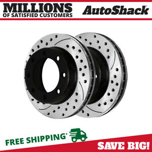 Front Drill Slotted Brake Rotors Pair 2 For 05 12 Ford F 250 Super Duty 680280