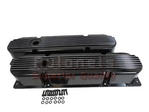 Black Mopar Chrysler Fabricated Finned V8 383 426 440 Aluminum Valve Covers Big