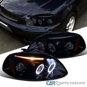 Glossy Black Fit Honda 96 98 Civic 2 3 4dr Tinted Led Halo Projector Headlights