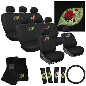 29pc Complete Ladybug Cute Red Leaf Seat Cover Truck Set Bench Floor Mats Adm5