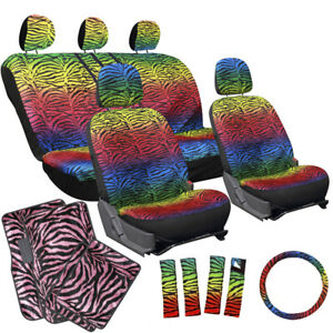 17pc Set Suv Bucket Seat Cover Rainbow Color Zebra Animal Hot Pink Floor Mats 1e
