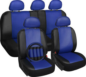 Faux Leather Seat Covers For Dodge Ram Blue W Steering Wheel Belt Pads Head Rest