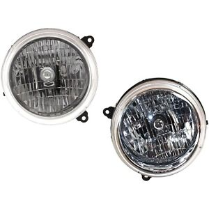 Headlight Set For 2002 2003 Jeep Liberty Left And Right With Bulb 2pc