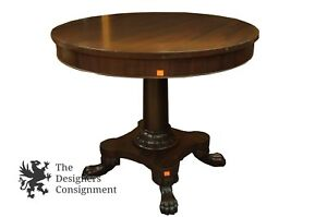Exquisite Empire Style Carved Mahogany Drum Table Paw Feet Accent Pedestal