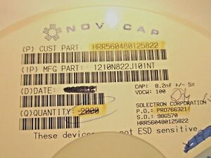 1210n822j101nt Novacap Multilayer Ceramic Capacitor 8 2nf 5 100v 1 531 pc Lot