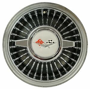 Retro Style 14 Wheel Cover W Spinner Set Of 4 Chrome Impala Belair Corvette