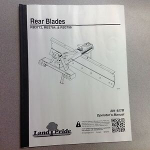 Land Pride Rear Blades Rb3772 Rb3784 Rb3796 Operators Manual
