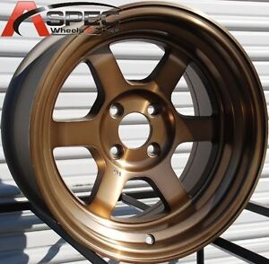 15x9 Rota Grid V Wheels 4x100 Sport Bronze Rims 0 Stance Fits Miata Integra