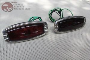 41 48 Chevy Fleetline Rear Tail Light Assembly Set Guide Style Lens Pair Bomb