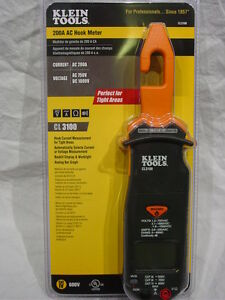 Klein Electrical Tool Cl3100 Ac Hook Clamp 200 Amp Volt Ohm Meter Wire Tester