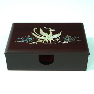 Mother Of Pearl Inlay Wood Office Desk Art Decor Business Name Card Holder Case