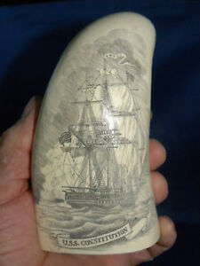 Scrimshaw Replica Sperm Whale Tooth Old Ironsides 7 Uss Constitution