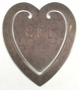 Authentic Vintage Tiffany Co Heart Shape Ckl Sterling Silver Bookmark
