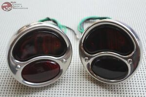 Left Right Hand Model A Tail Lamp Light Assembly Set Stainless Steel Stop Lens