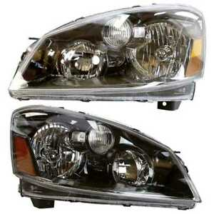 New Left Right Pair 2 Head Lamp Assembly W O Bulb Fits 2005 2006 Nissan Altima