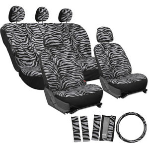 Car Seat Covers Grey 17pc For Auto Zebra Tiger Animal Print Steering Wheel