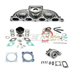 90 93 Accord F22 4 Cylinder 48 T3 Turbo Charger Cast Manifold Set Up Kit 300hp