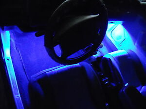 4pc Blue Neon Interior Underdash Lighting Kit With Remote Effects