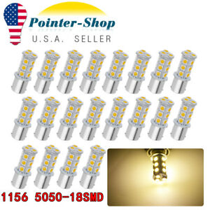 20x 1156 18smd Warm White Rv Camper Led Interior Light Brake Stop Bulbs 1073