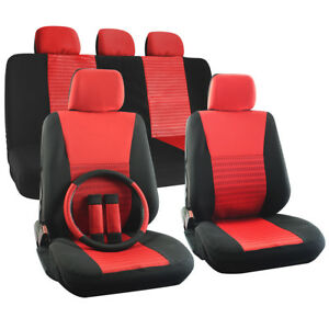 Truck Seat Cover Set For Dodge Ram W Steering Wheel Head Rests Red Full Stripe