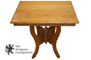Antique Victorian Eastlake Style Oak Carved Parlor Table Arts Crafts Butterfly