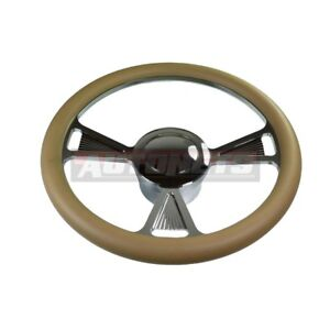 Beige Tri Chevy Gm Chrome Aluminum Steering Wheel Horn Button Adapter Hotrod