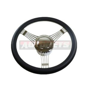 Banjo Styel Black Half Wrap Hot Rod Rat Gm Aluminum Steering Wheel Horn Chevy