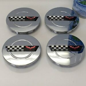 4 Chrome Wheel Center Caps Fits Chevy Corvette Camaro 91 96 Zr1 C4 Rims 3