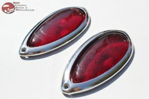 Ford Hot Rat Street Rod Custom Car Truck Tear Drop Tail Light Lamp Lenses Bezels