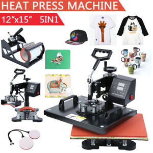 5 In 1 Heat Press Machine Swing Away Transfer T shirt Sublimation Mug Hat Plate