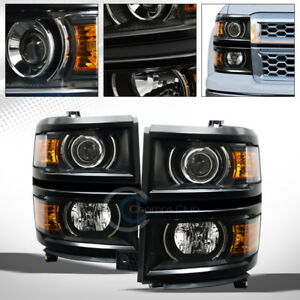 Black Projector Head Lights Signal Lamps Amber Dy 2014 2015 Chevy Silverado 1500