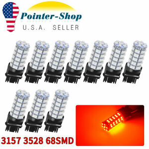 10x Pure Red 3157 3156 3528 68 Smd Tail Brake Stop Turn Signal Led Light Bulbs