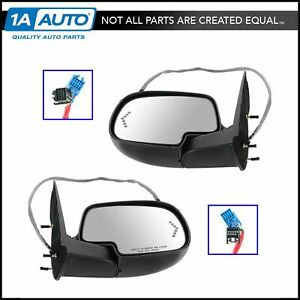 Side View Mirrors Pair Set Power Heated Signal Smooth Cap For Chevy Gmc Truck