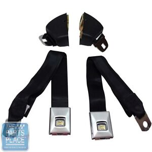 1966 67 Gm A B Body Nova Front Deluxe Seat Belt Retractor Set Black