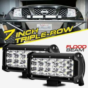 Pair 7inch 180w Cree Led Work Light Bar Flood Tri Row Driving Fog Lamp Truck 4
