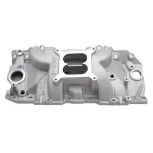 Edelbrock Intake Manifold 7163 Dual Plane Satin Aluminum For Chevy Bbc