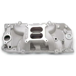 Edelbrock Intake Manifold 7161 Dual Plane Satin Aluminum For Chevy Bbc