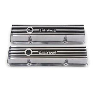 Edelbrock Valve Cover Set 4262 Elite 2 930 Polished Finned Aluminum For Sbc