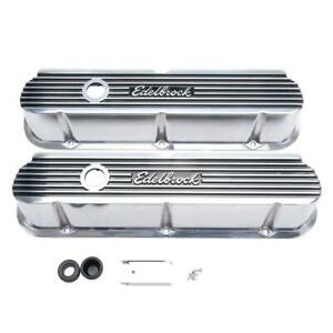 Edelbrock Valve Cover Set 4264 Polished Aluminum For Ford 289 302 351w Sbf