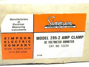 Simpson 295 2 Amp Clamp Ac Volt ampmeter Cat No 12224