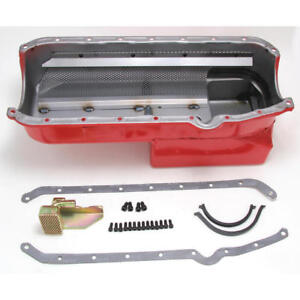 Hamburger Engine Oil Pan 1088 Econo series Drag Race 7qt Red For Chevy Sbc