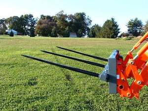 Skid Steer Triple Bale Spear Attachment 3 X 49 Prong Cat m Hay Bale Handler