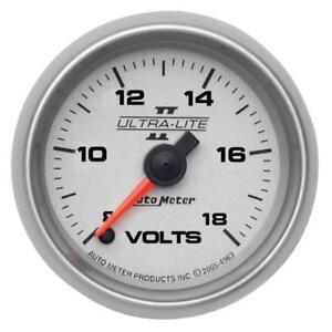 Auto Meter Voltmeter Gauge 4991 Ultra lite Ii 8 To 18 Volts 2 1 16 Electrical