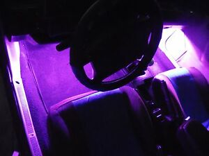 4pc Pink Purple Neon Interior Underdash Lighting Kit With Remote