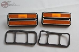 Chevy Gmc Pickup Truck Van Amber Side Marker Lamps Lens Chrome Trim Blazer Jimmy
