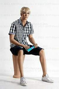 Male Full Body Display Mannequin Sitting Manequin Manikin Grant a Pedestal